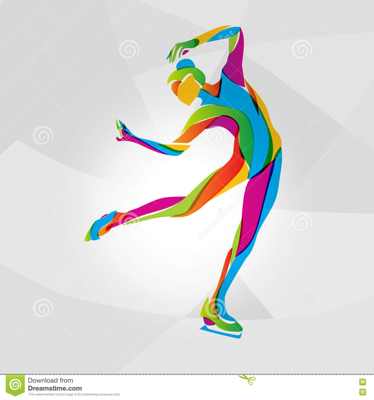 Multicolor Silhouette Of Ice Skating Girl Vector ...
