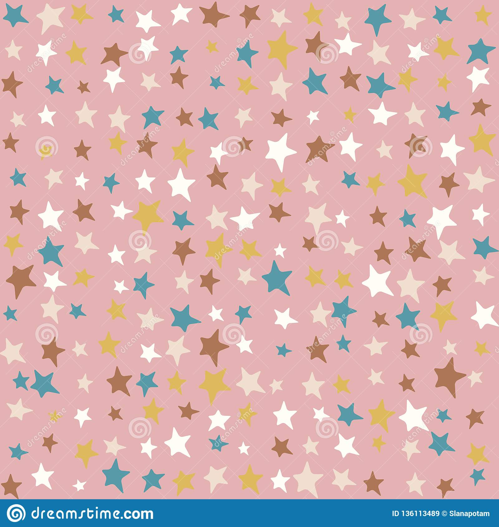 Multicolor Stars Kids Pattern Random Pastel Colors Cute Kids Background Stock Vector Illustration Of Childrens Joyful 136113489