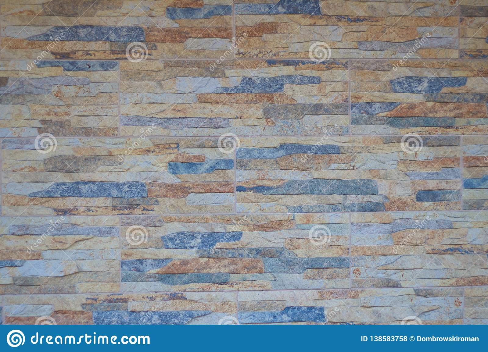 Multicolor of Stone ceramic Brick wall beautiful color texture background for art interiors design in home, house