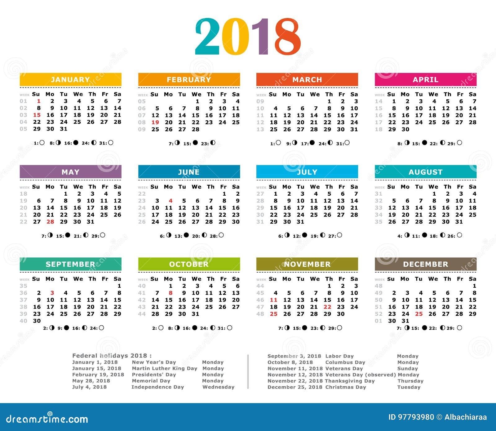 2018 Multicolor yearly calendar.