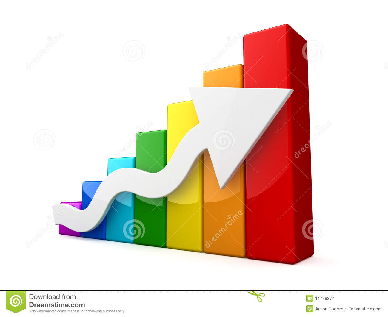 Multicolored 3d graph with white arrow royalty free stock for Grafica 3d gratis