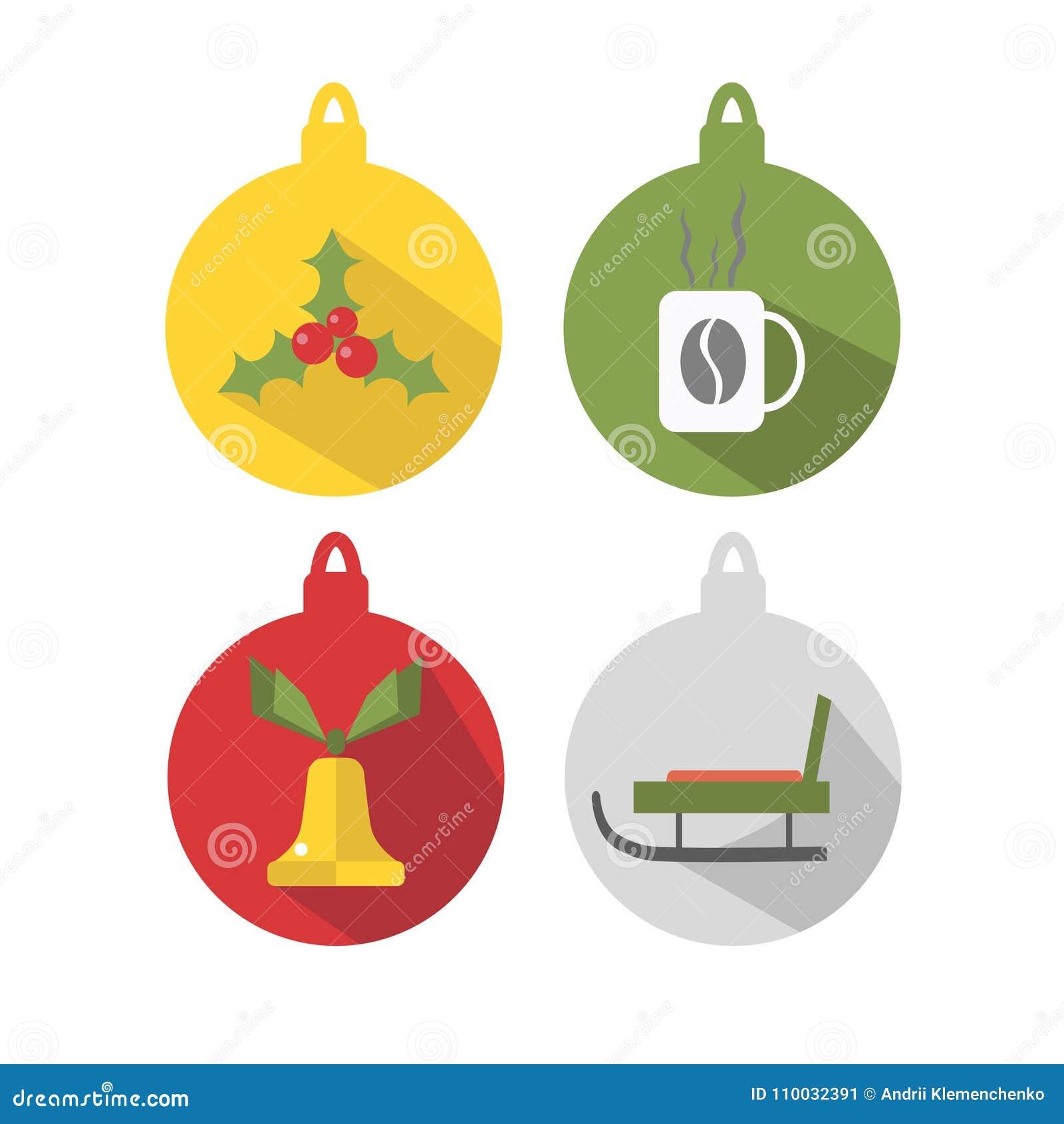 Multicolored ballen voor Kerstboom, op een witte achtergrond wordt geïsoleerd die De wintervakantie en Vieringenconcept Vector