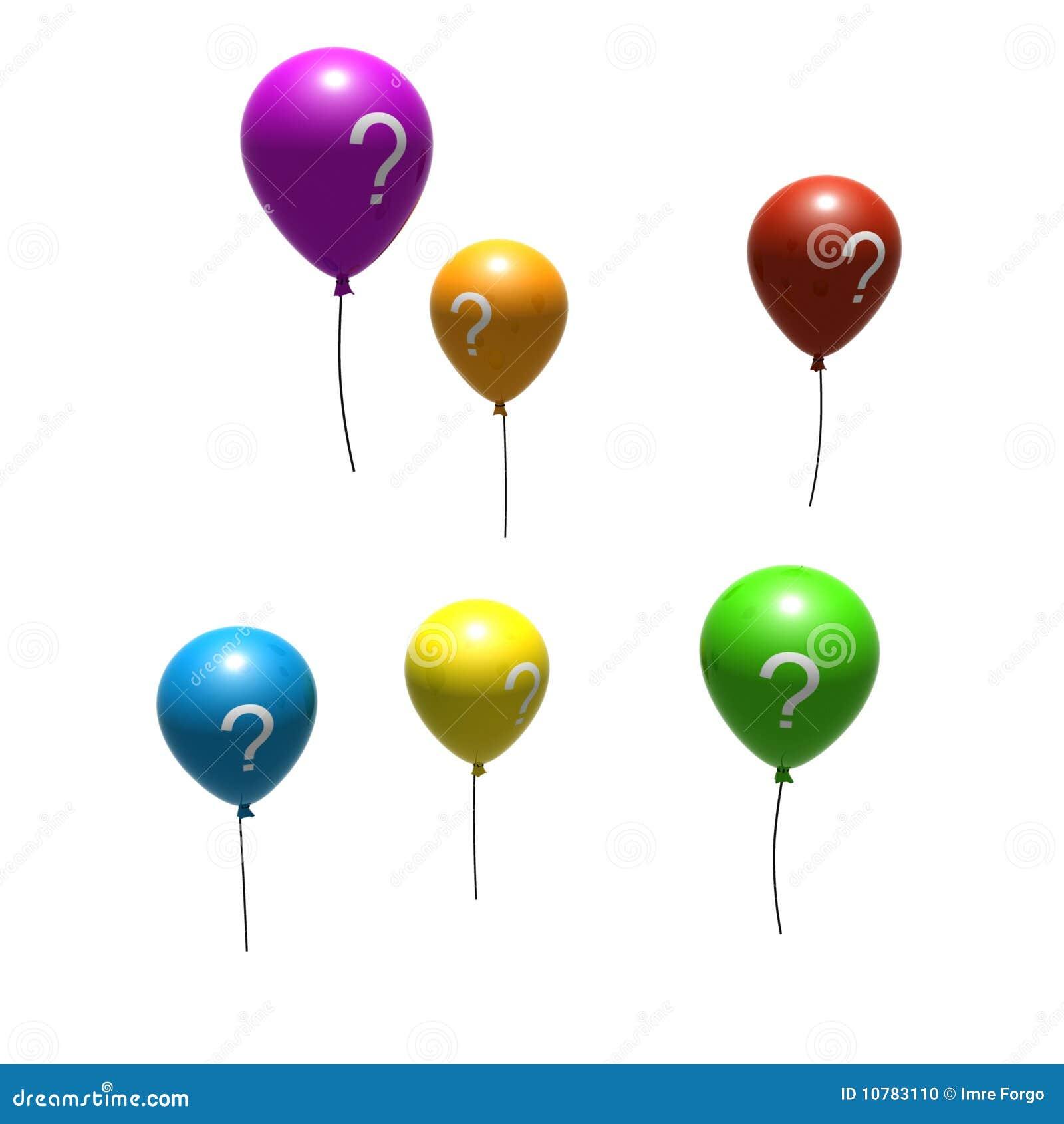 Multicolored ballons met vraag-teken
