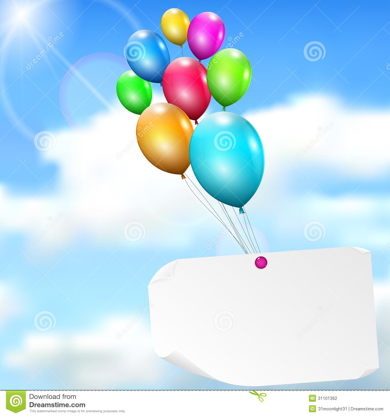 Multi colored cardstock paper - Background Balloons Card Clouds Multicolored Paper