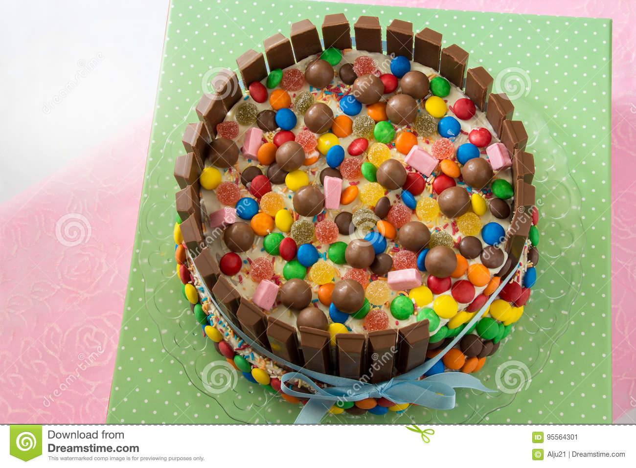Multicolored Birthday Pinata Cake Stuffed With Sweets Inside