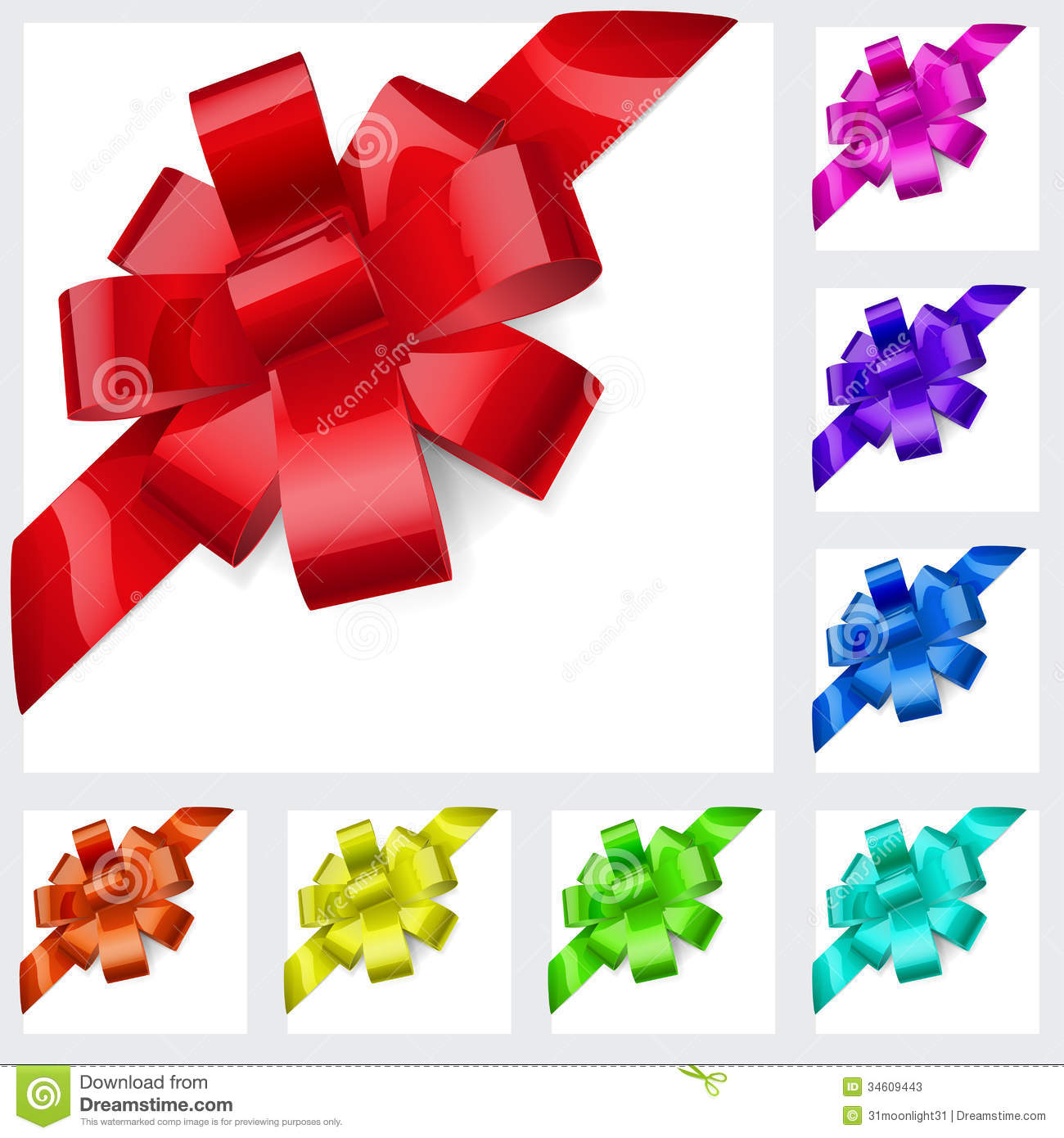 multicolored bows of ribbon stock vector image 34609443