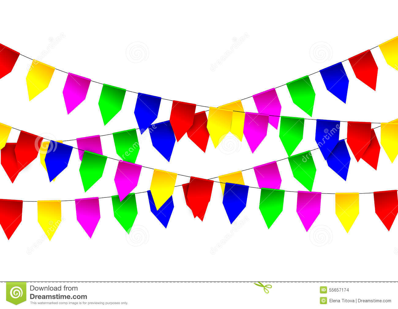 Multicolored Bright Flags Garlands On White Background ...