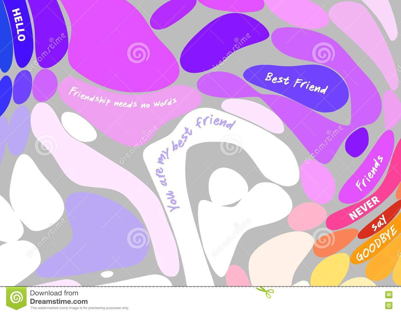 multicolored bubble background with inspirational quotes about friendship