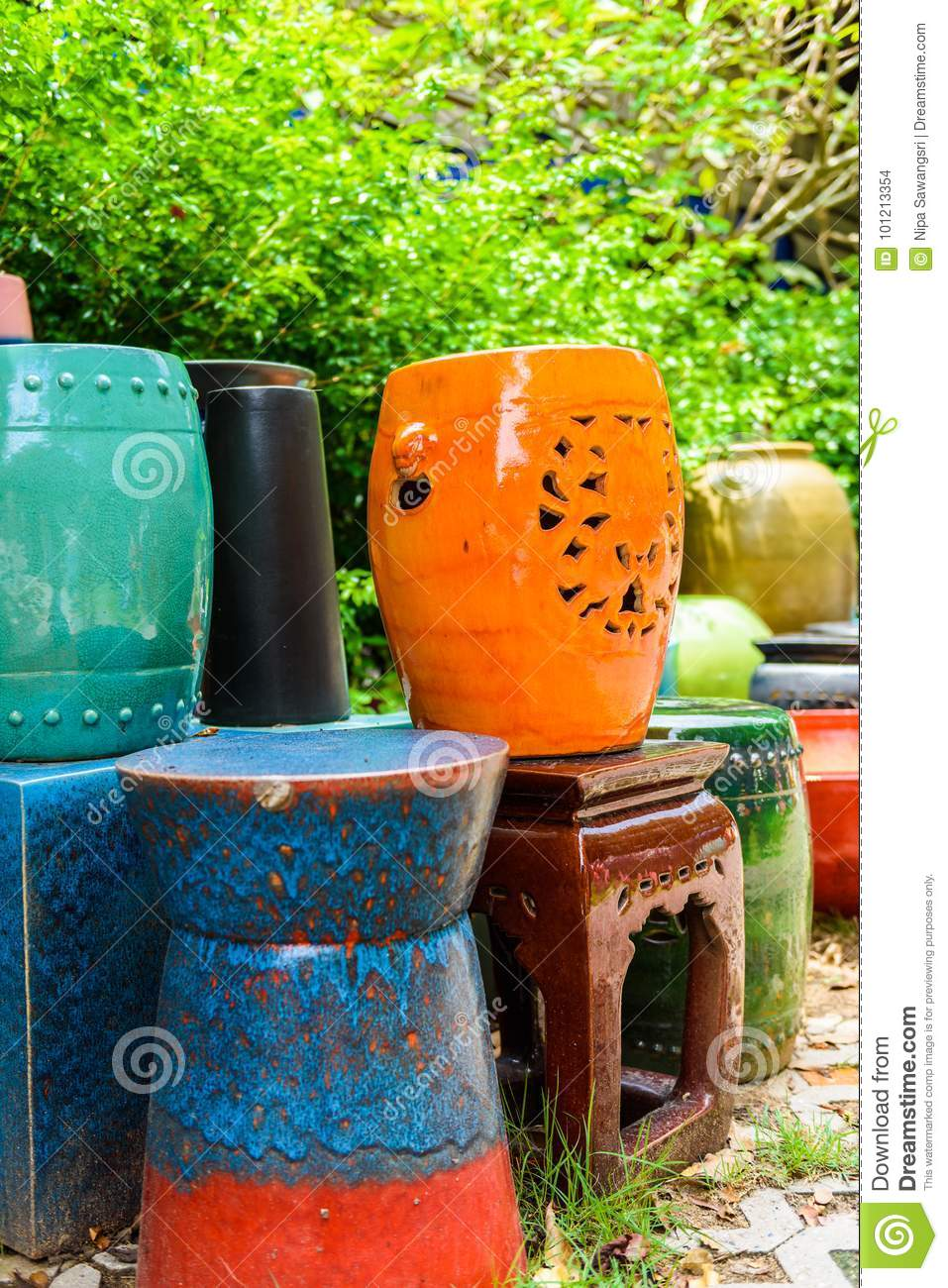 Multicolored Ceramic Bowls And Cups Handcrafted Stock Photo Image