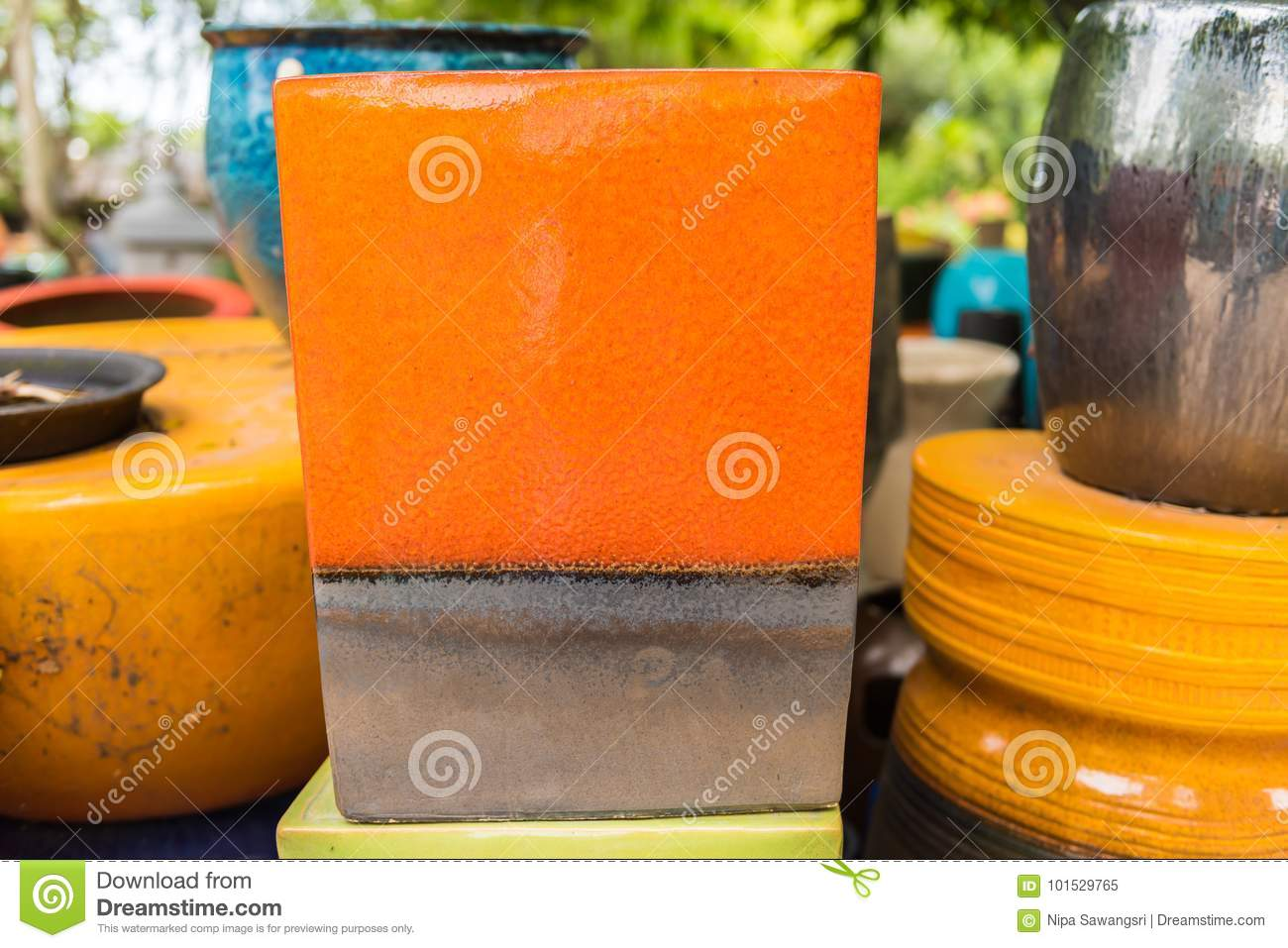 Multicolored Ceramic Bowls And Cups Handcrafted Stock Image Image