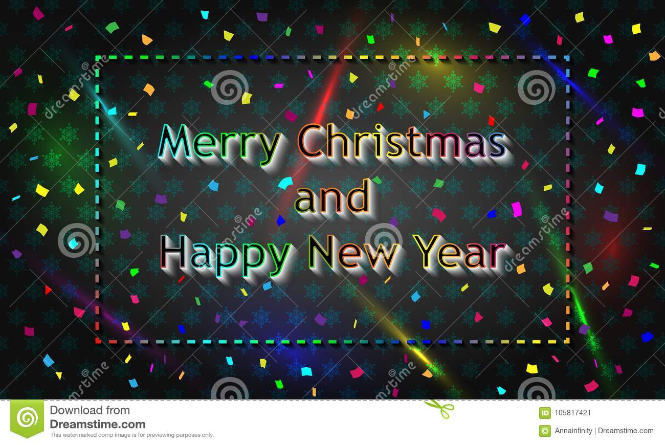 Multicolored Christmas Card Reproduced In Neon Style Stock
