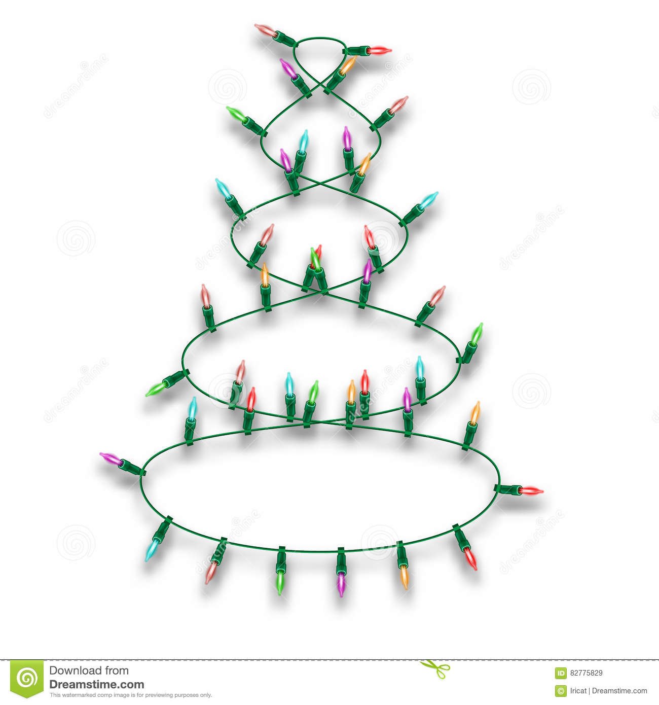 Multicolored Christmas Lights Garland In The Form Of A Christmas