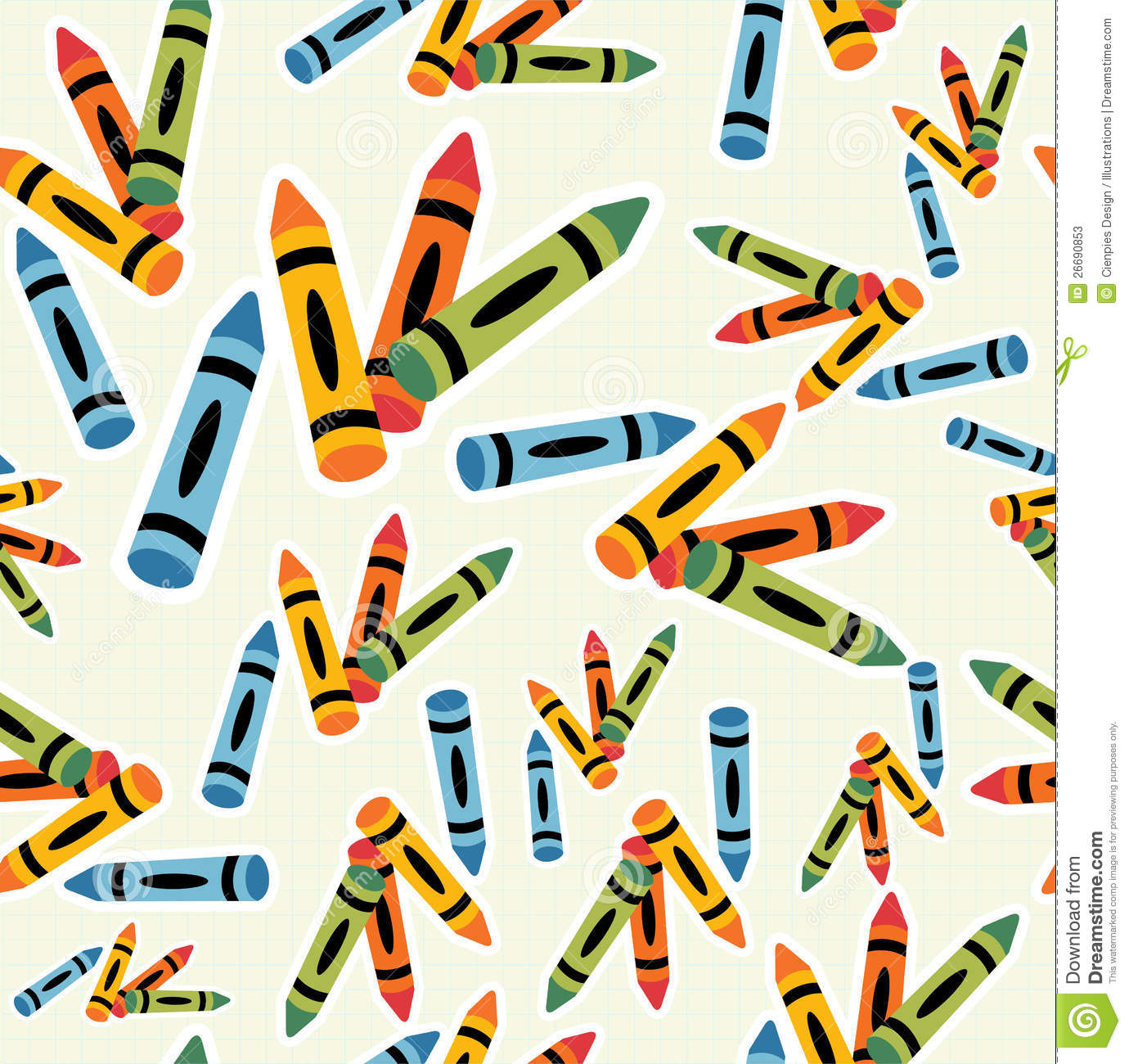 Multicolored Crayons Pattern Background Stock Photos