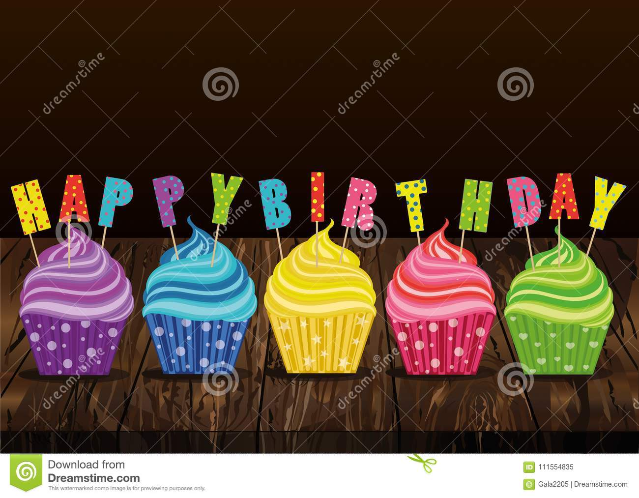 Multicolored Cupcakes With Letters And Words Happy Birthday