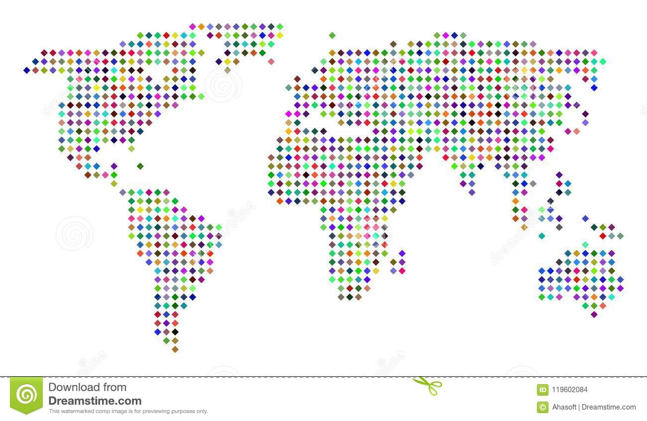 Dot World Map.Multi Colored Dotted World Map Stock Vector Illustration Of Global