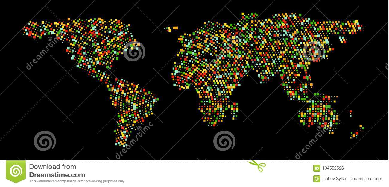 Multicolored dots world map abstract pixel world map with square abstract pixel world map with square shapes for infographic download comp gumiabroncs Choice Image