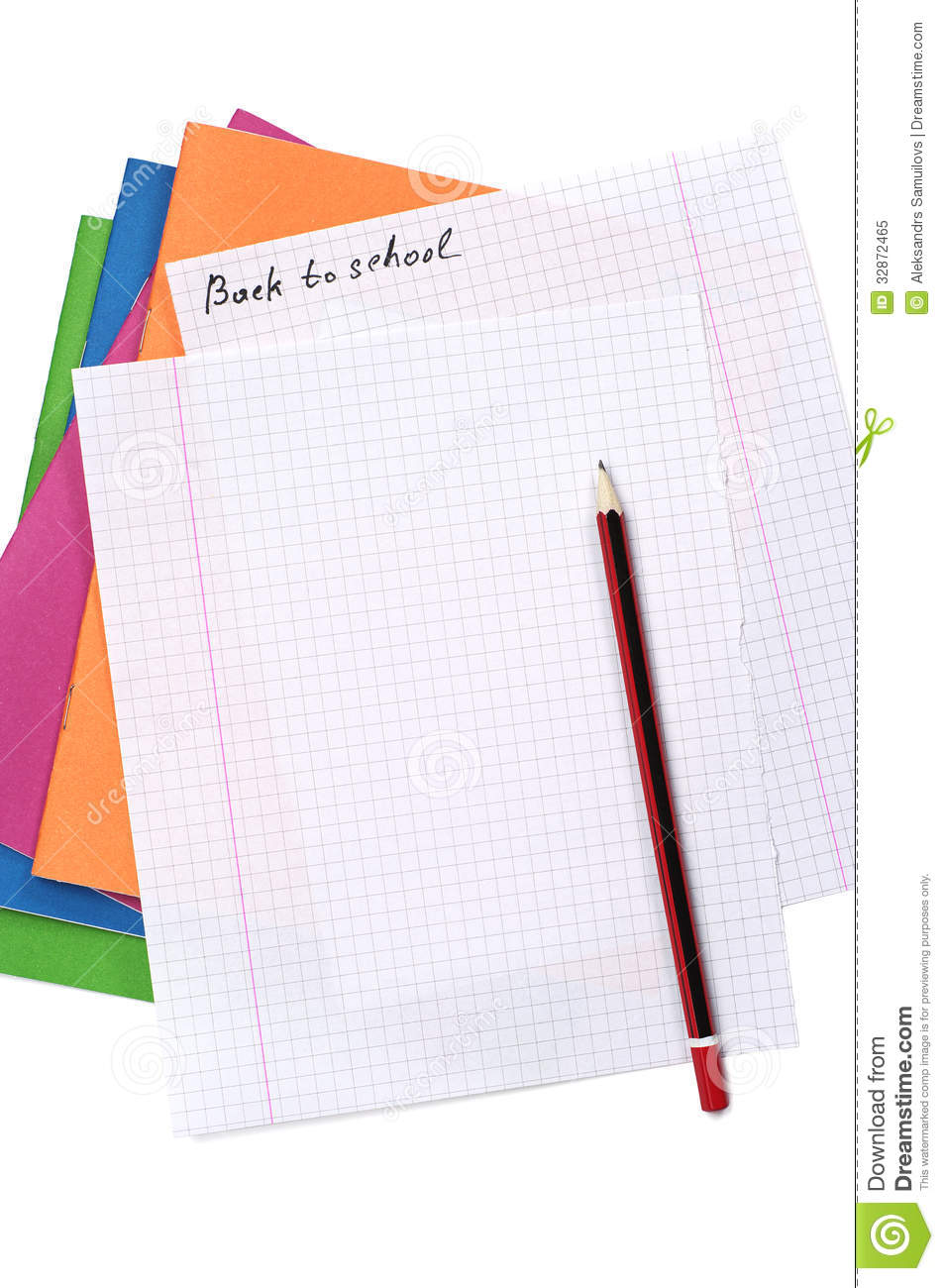 Multicolored Exercise Books And A Clean Sheet Stock Image
