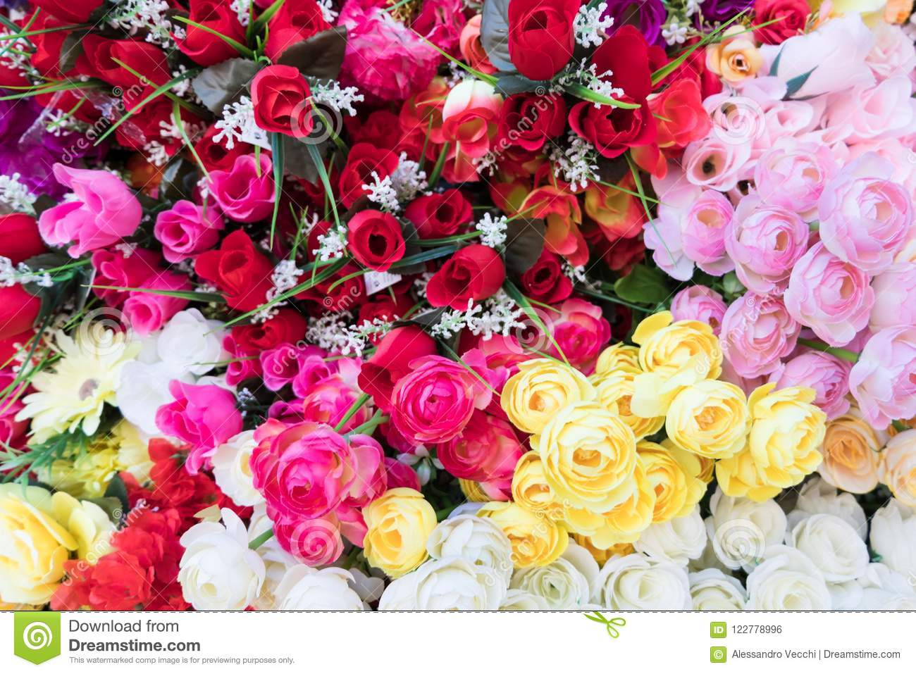 Multicolored Fabric Flower Wallpaper Background Stock Photo Image