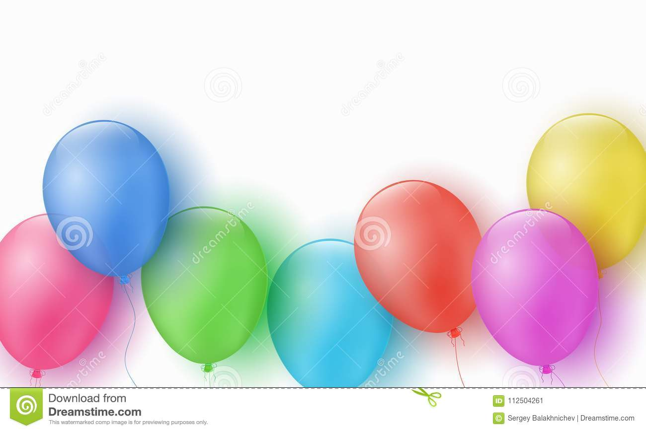 Multicolored festive balloons on a white background. Happy Birthday. Explosion. Greeting card. Template for children. Vector illus