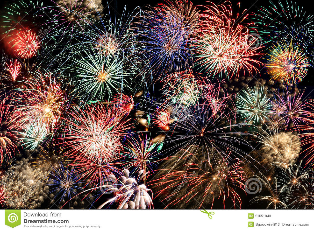 Multicolored Fireworks Fill The Frame Stock Photos - Image ...