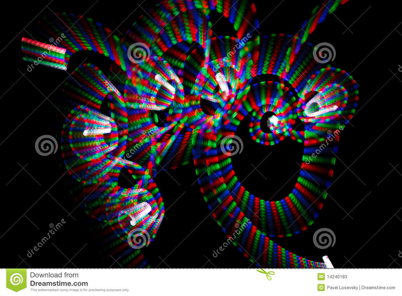 Multicolored freezelight in form of spirals