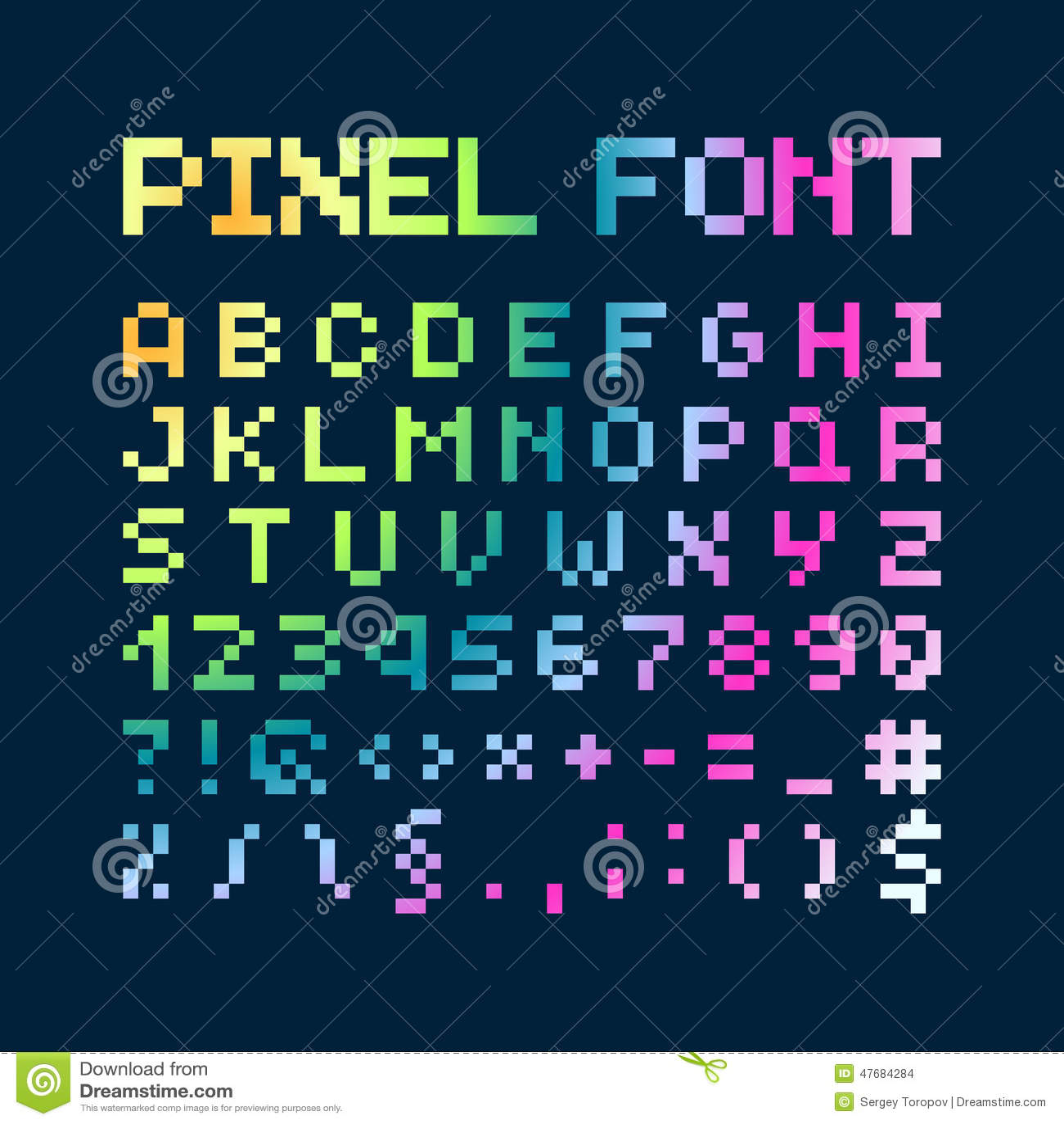 Multicolored Gradient Pixel Font Alphabet Stock Vector