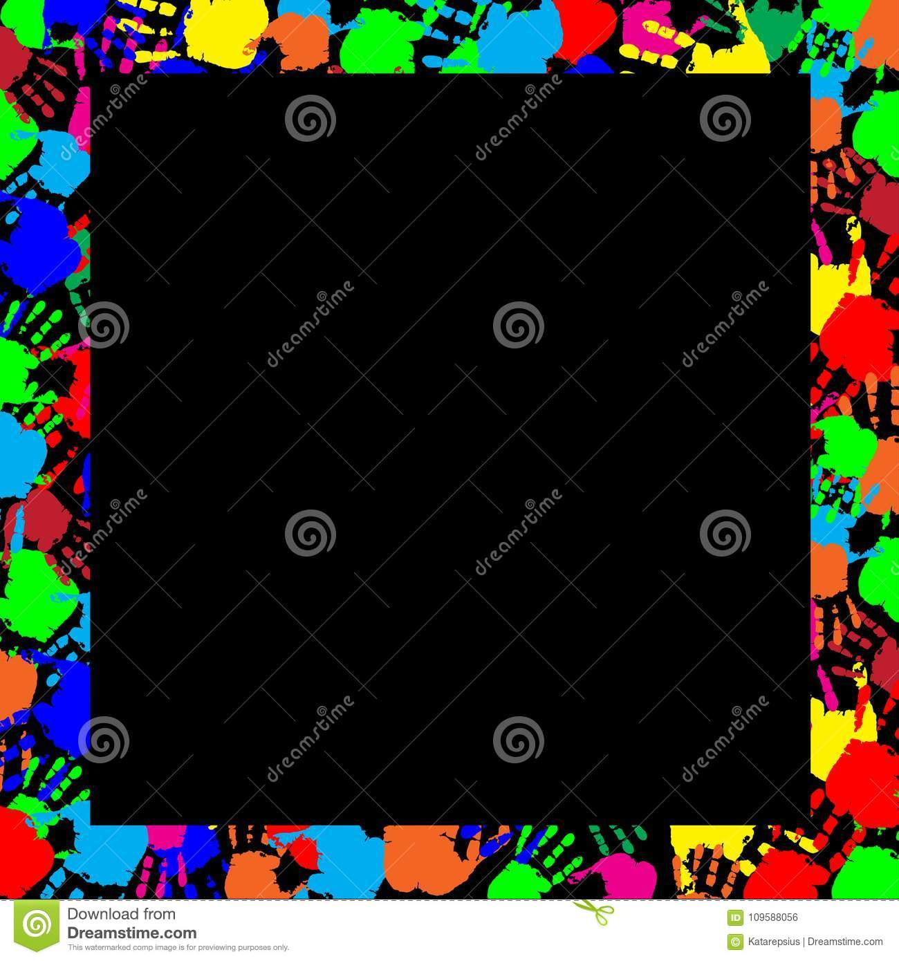 Multicolored Handprints Border Isolated On Black Background Stock