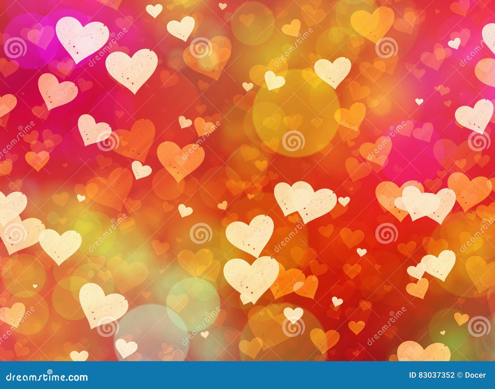 Multicolored hearts bokeh background