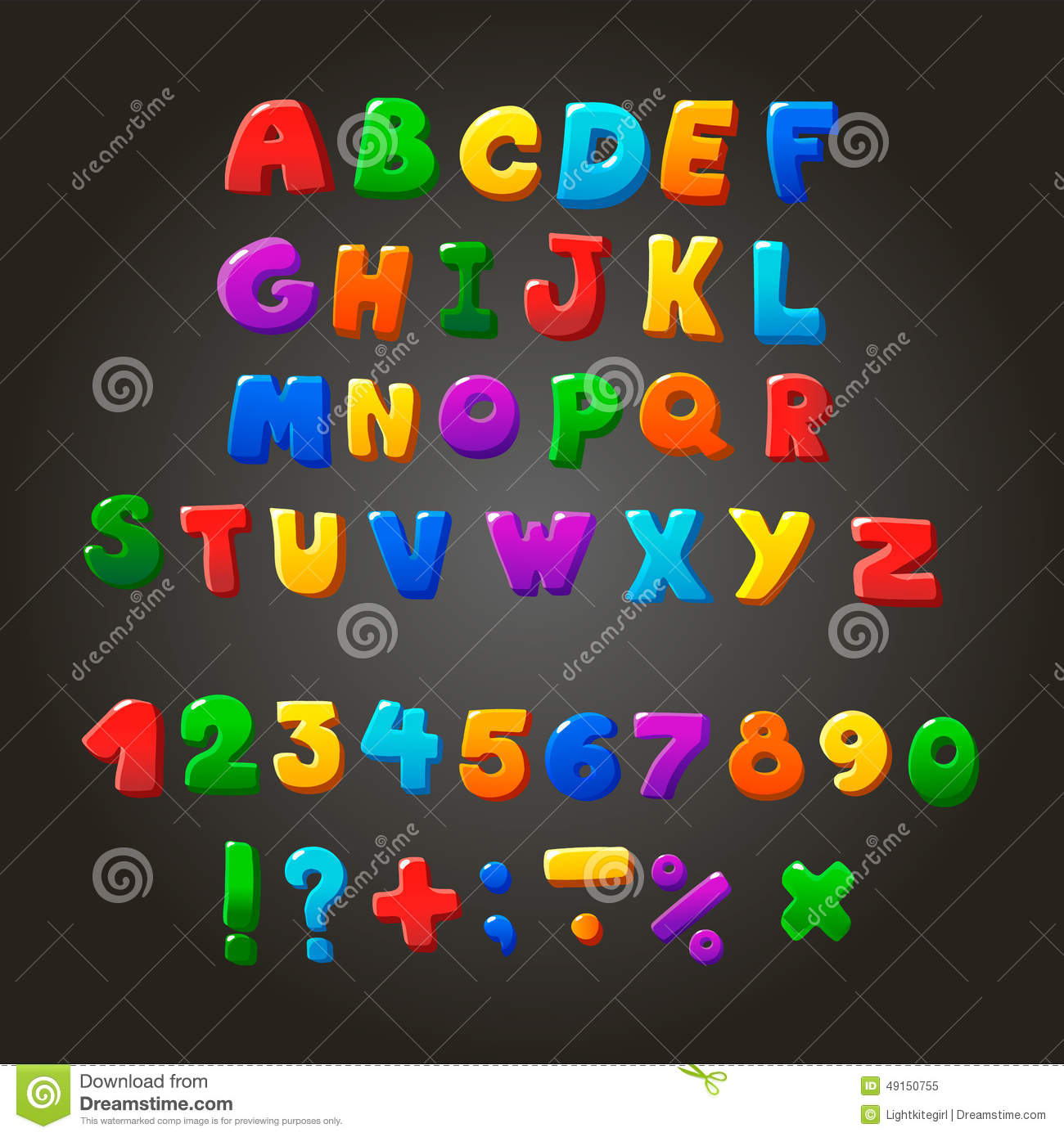 Multicolored kids Vector Font, letters, numbers