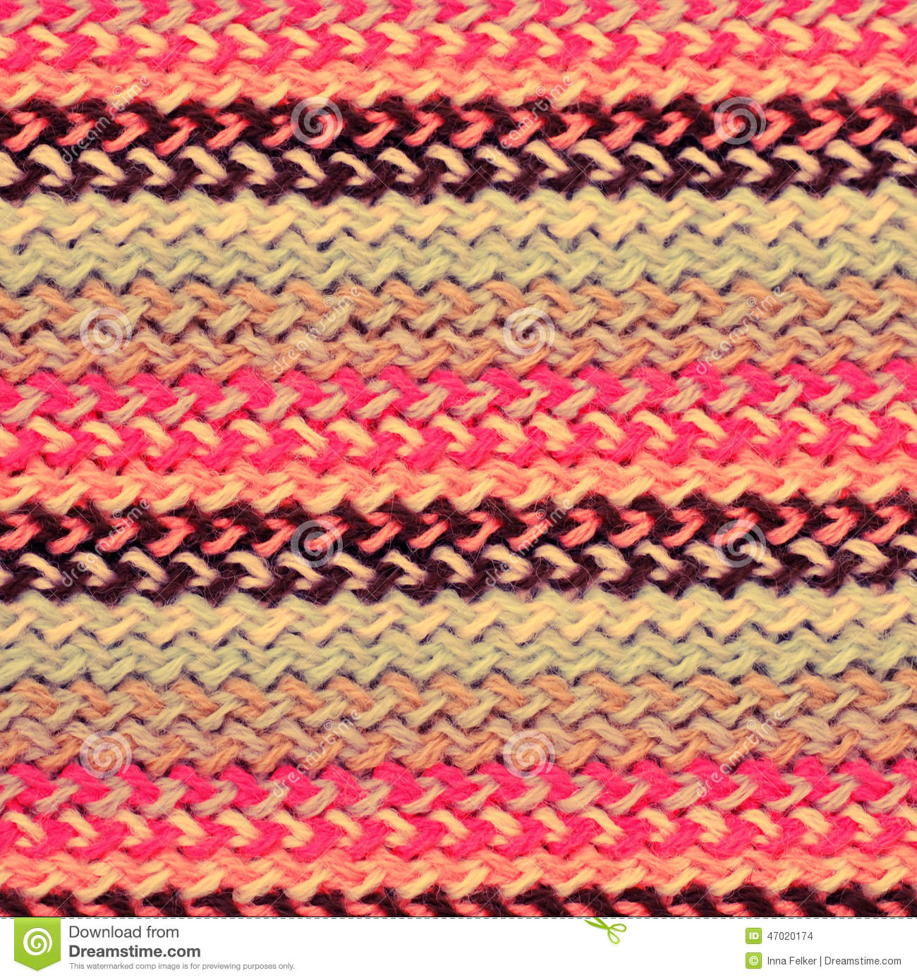 Multicolored Knitting Horizontal Striped Background Stock Photo ...