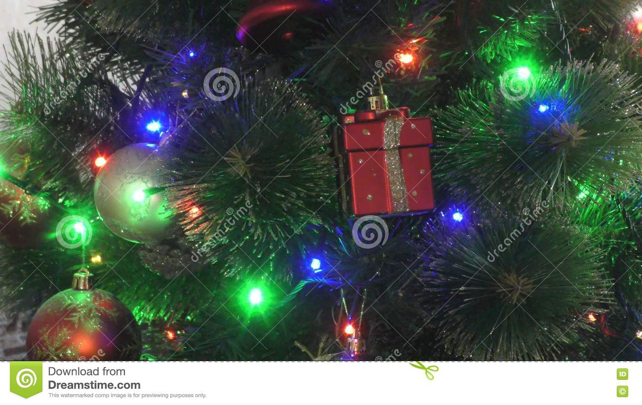 Multicolored Lights On The Christmas Tree Stock Footage - Video of ...