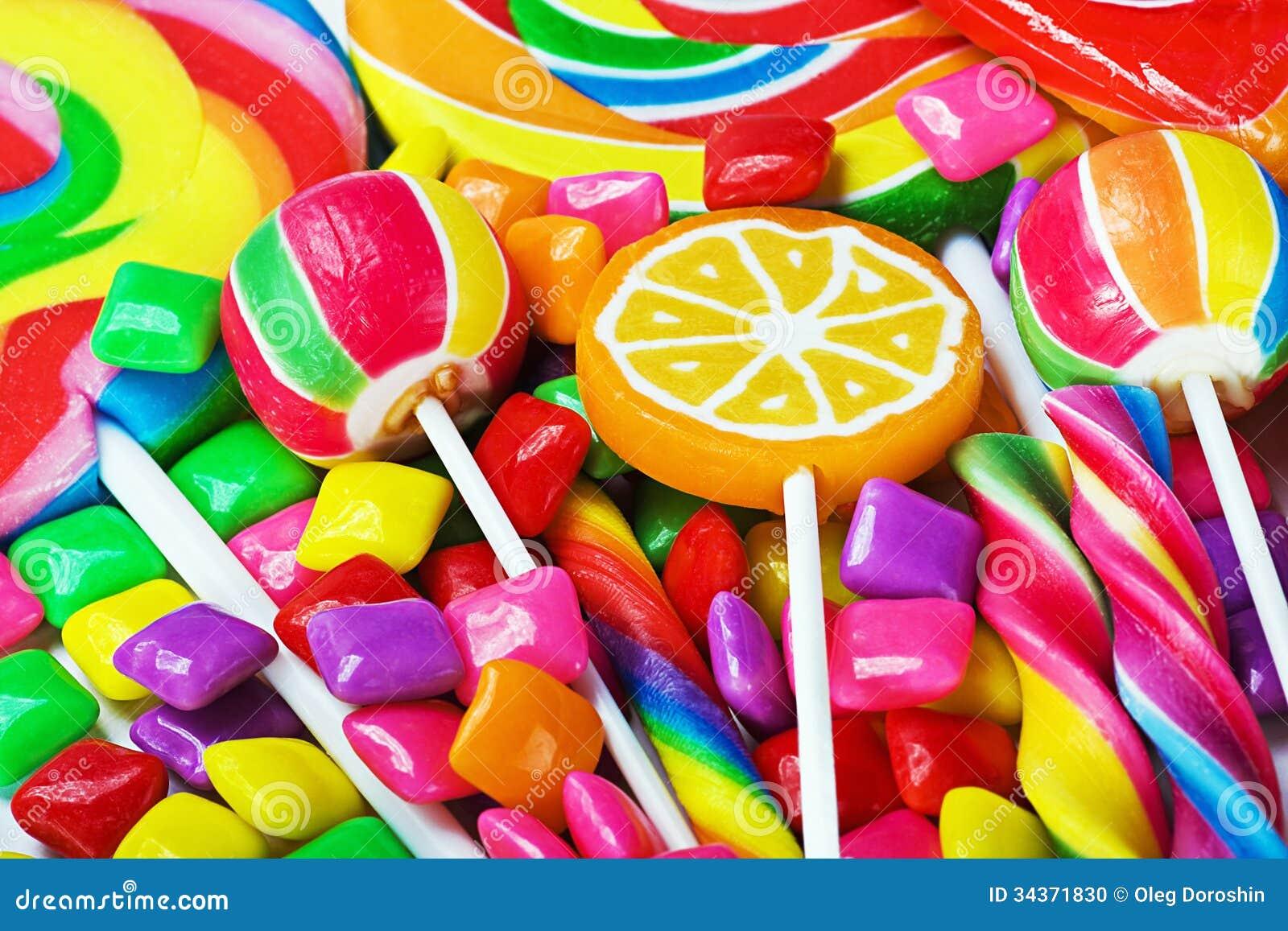 Multicolored lollys, suikergoed en kauwgom