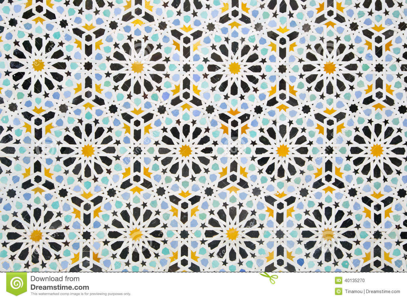Multicolored Moroccan Decoration Of A Wall Texture Stock