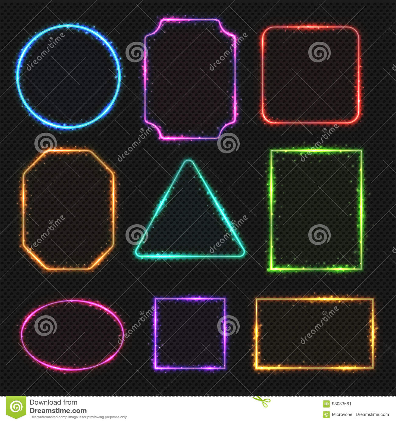 Multicolored Neon Vector Border Frames Simple Shapes Of Light Banners
