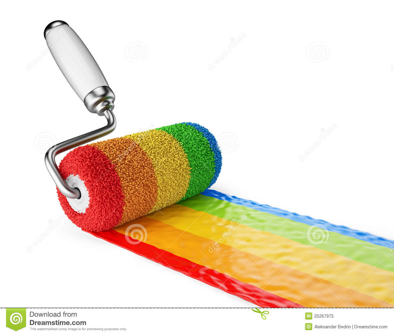 Multicolored paint roller 3d icon isolated royalty free for Free photo paint