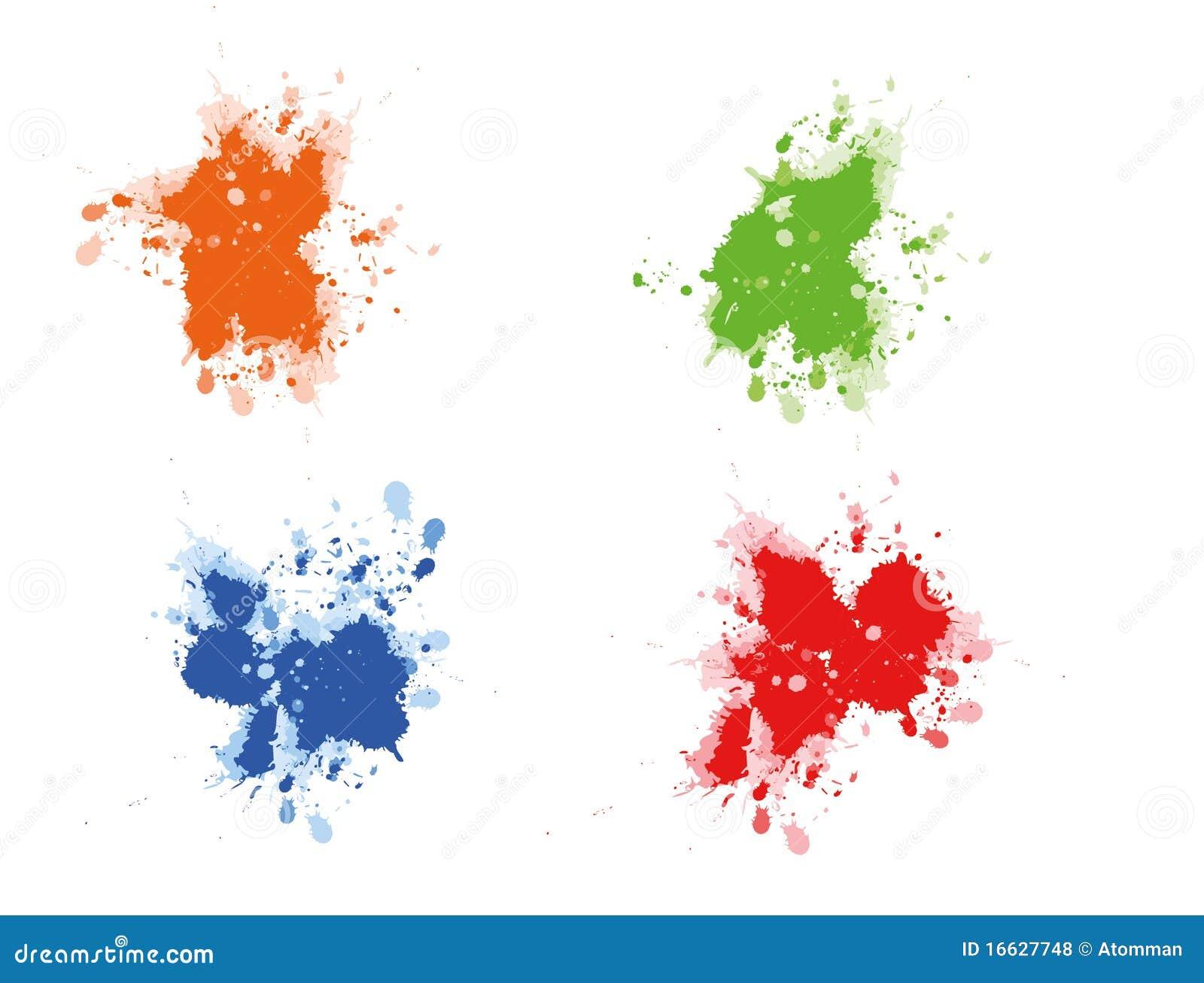 Multicolored paint splats