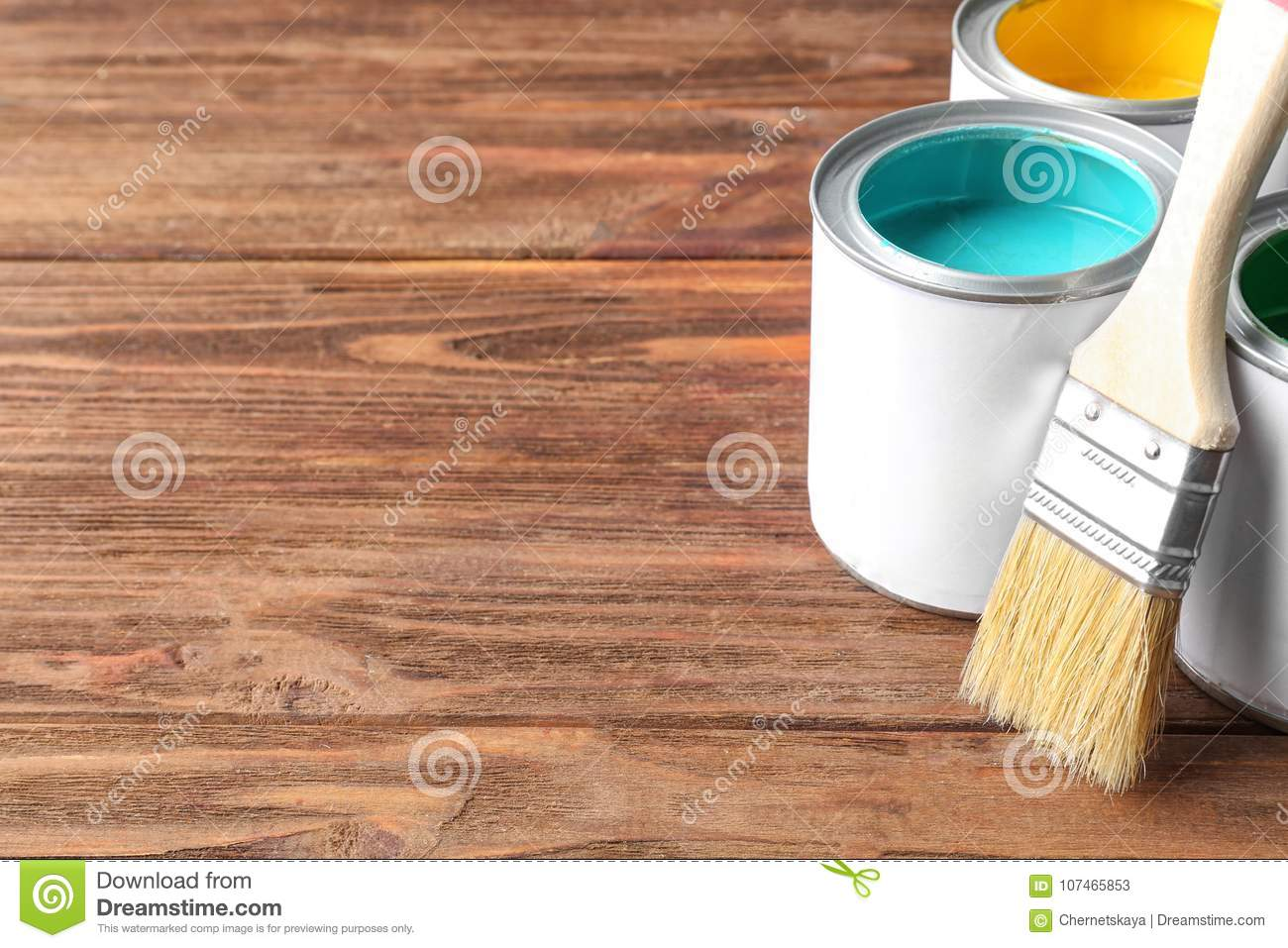 Multicolored paint in tin cans
