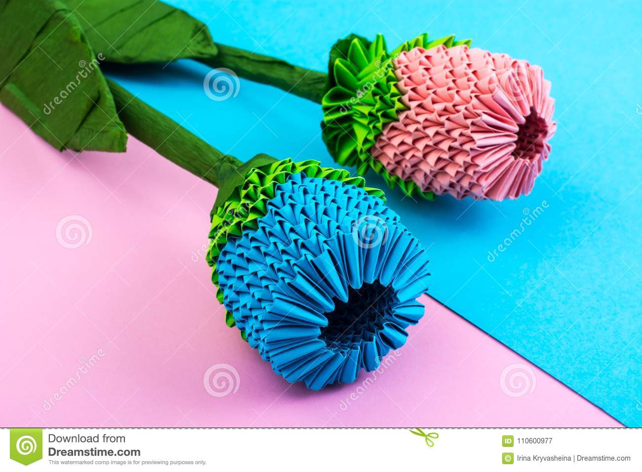 Multicolored Paper Origami Flowers On Pastel Background Stock Image