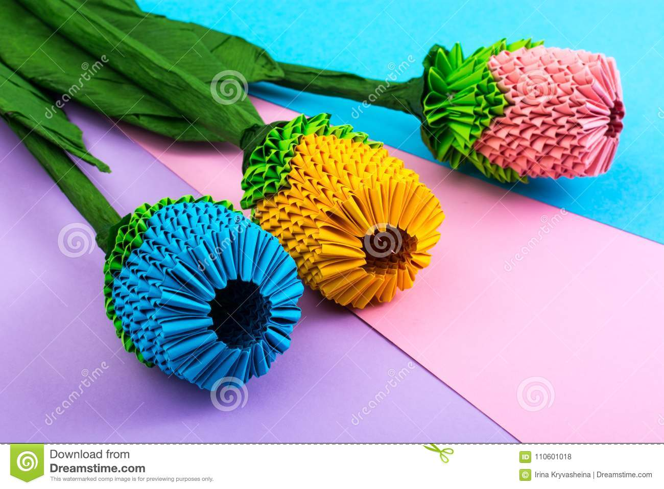 Multicolored paper origami flowers on pastel background stock photo download multicolored paper origami flowers on pastel background stock photo image of origami handmade mightylinksfo