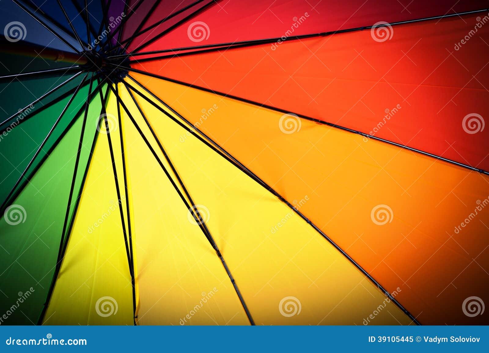 Multicolored paraplu binnen mening