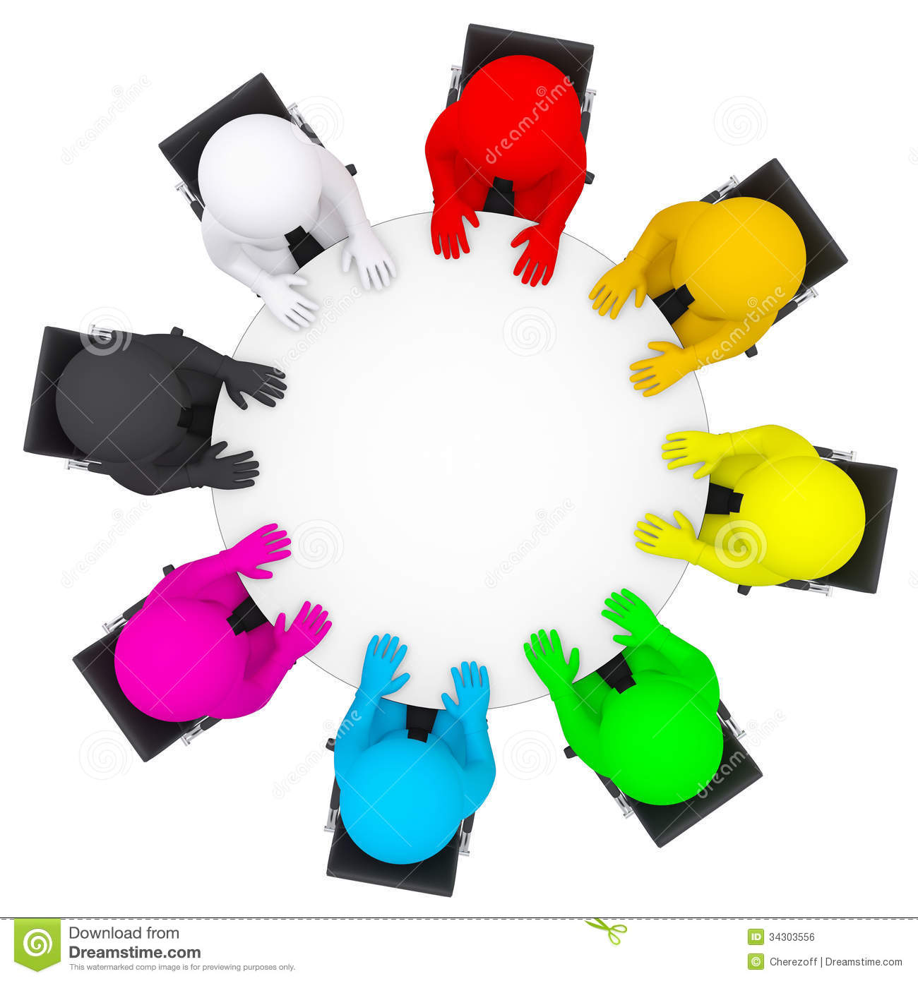 Round table meeting icon - Multicolored People Sitting At A Round Table Royalty Free