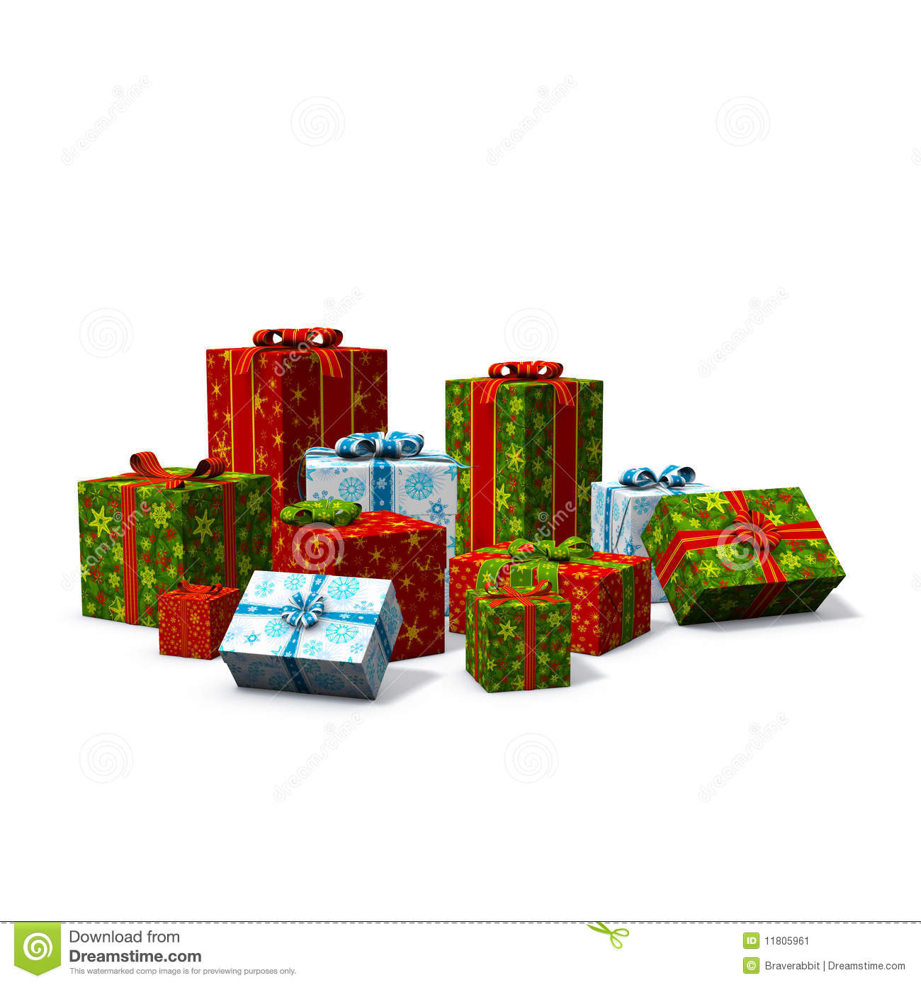 Multicolored Pile Of Christmas Presents Stock Image - Image: 11805961