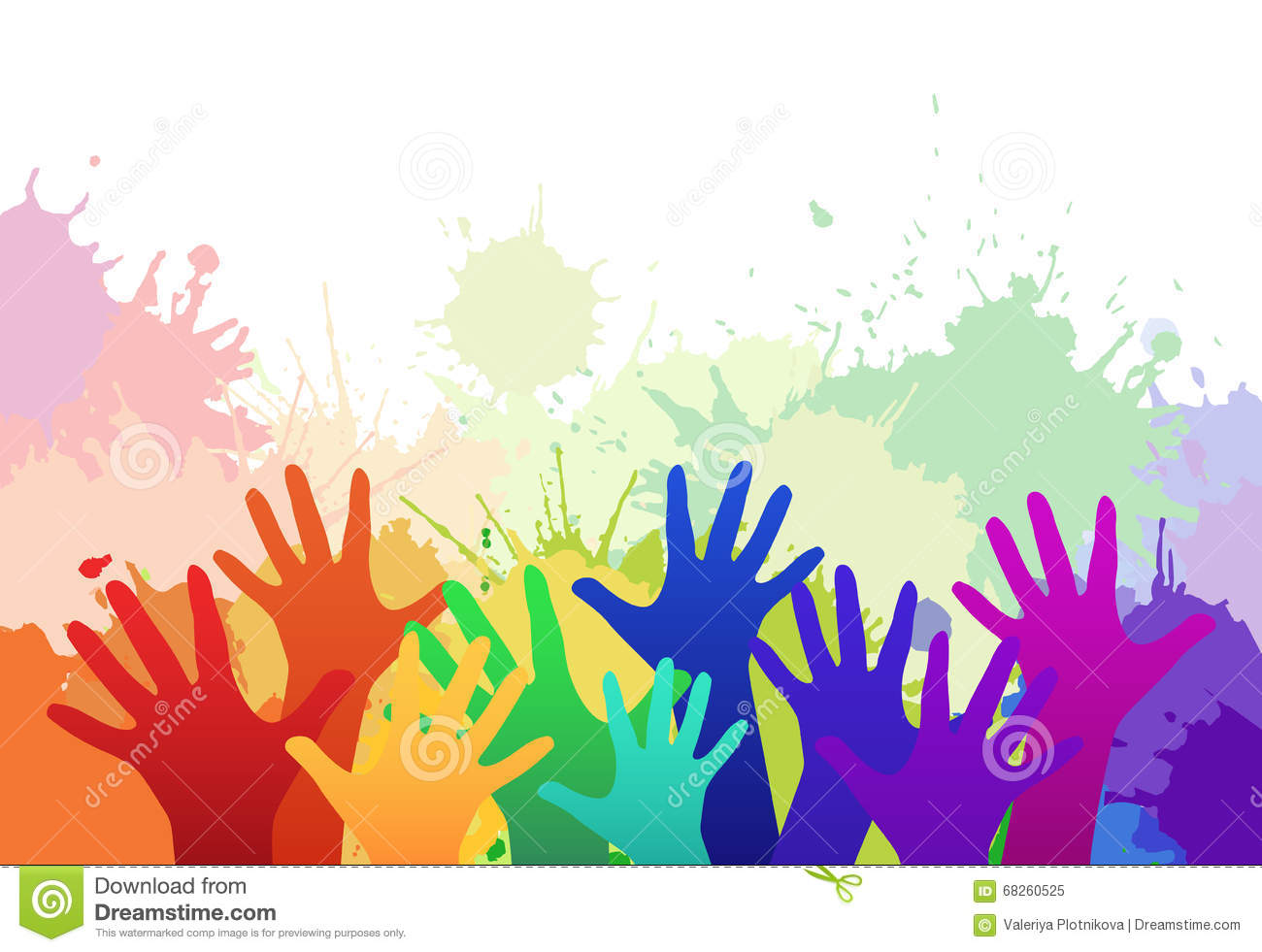 Multicolored Rainbow Children's Hands Stock Vector