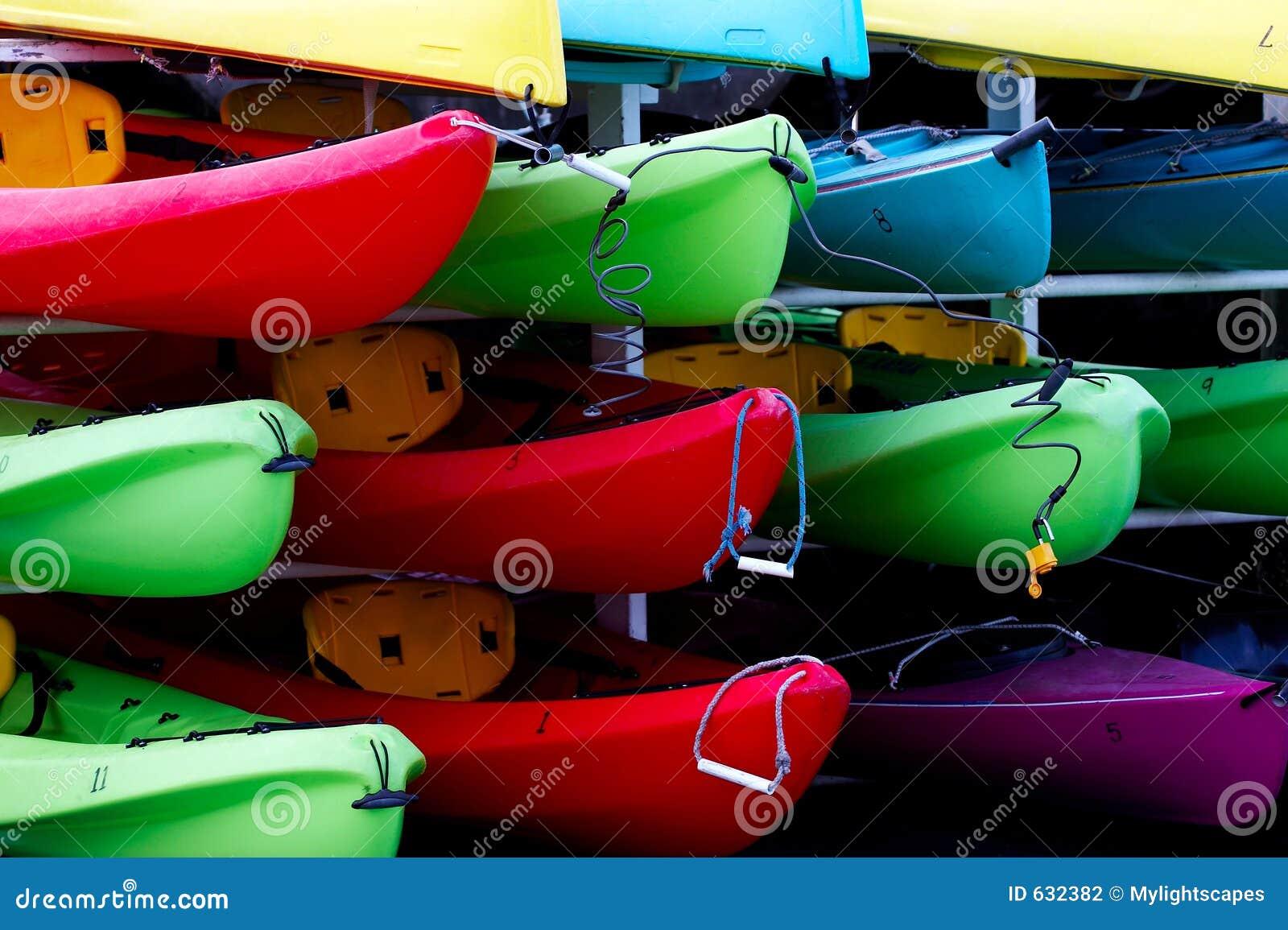 Multicolored rental kayaks