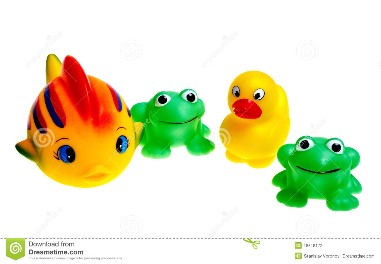 Multicolored rubber toys frogs ducks fish stock photo for Rubber fish toy