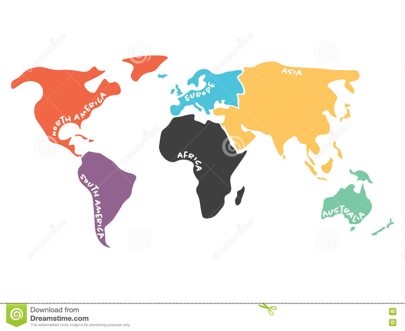 Multicolored simplified world map divided to continents stock vector multicolored simplified world map divided to continents gumiabroncs Images