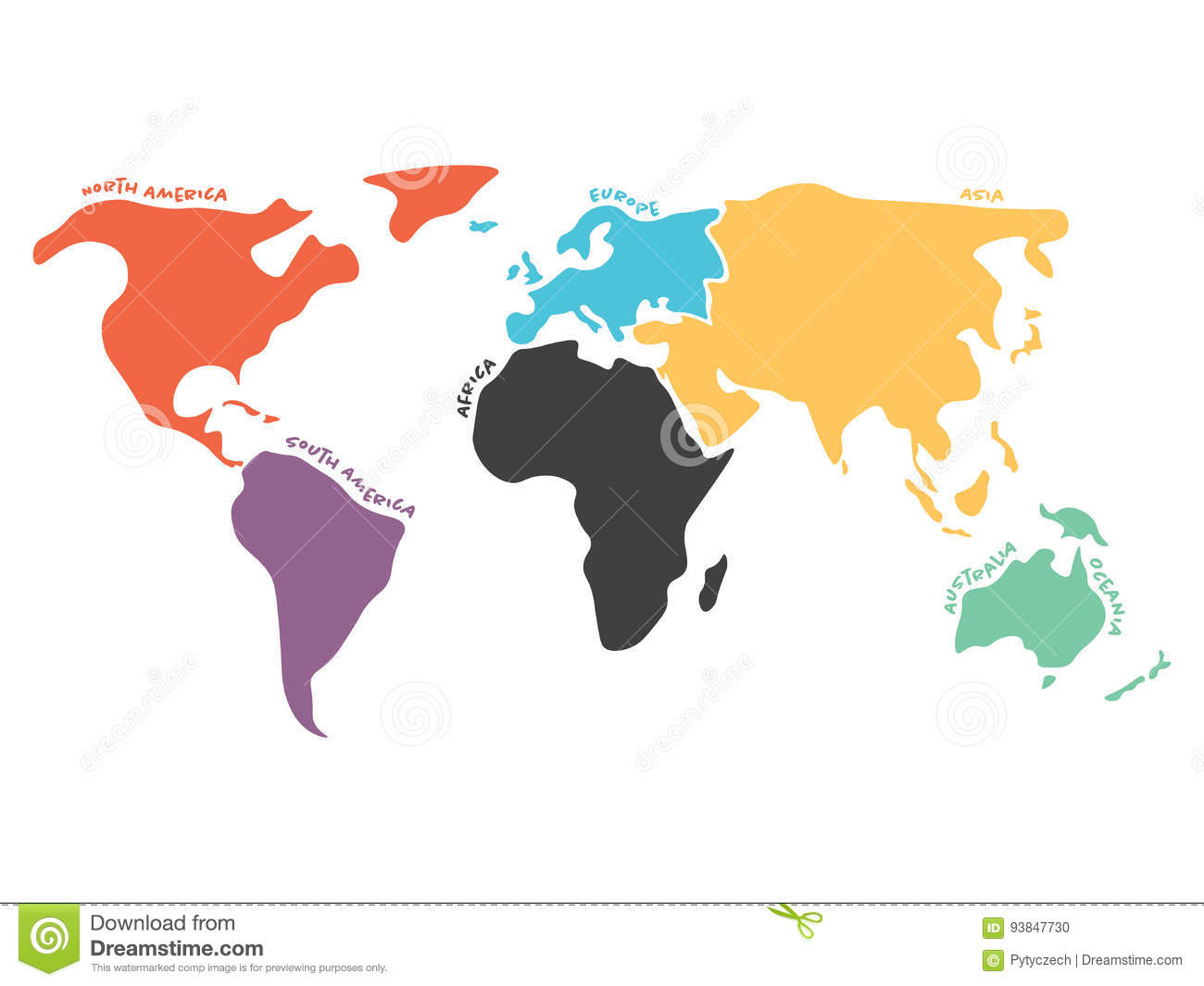 Multicolored simplified world map divided to continents stock vector multicolored simplified world map divided to continents royalty free vector download multicolored gumiabroncs