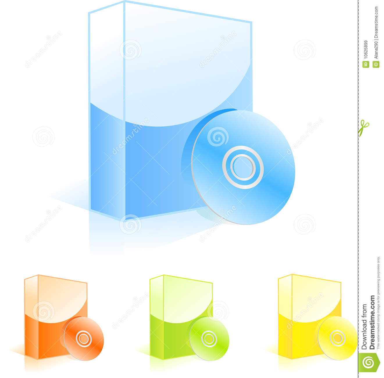Multicolored software boxes with cd