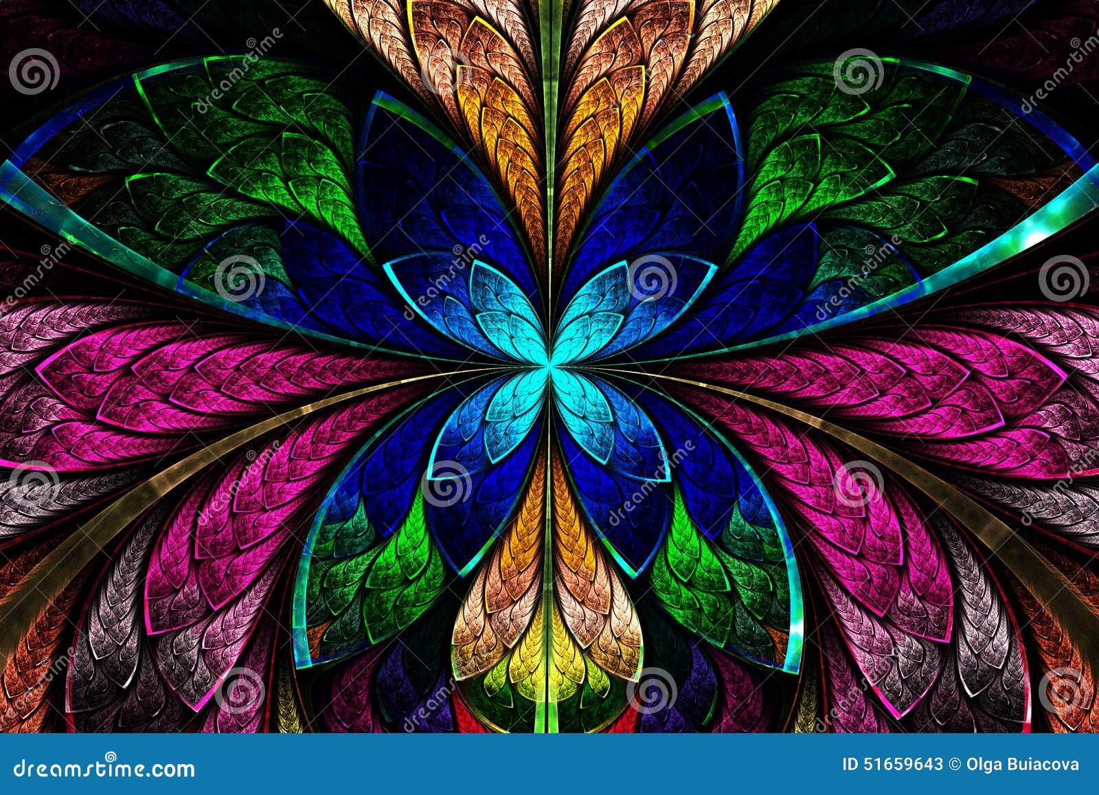 Multicolored symmetrisch fractal patroon als bloem of vlinder