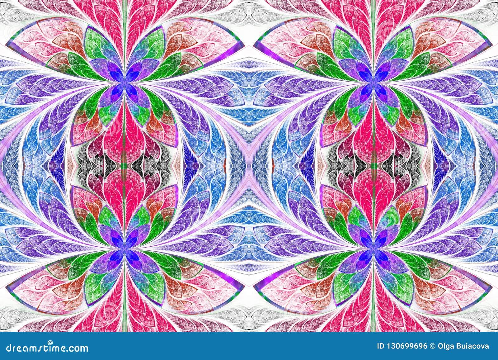 Multicolored symmetrisch patroon in de stijl van het gebrandschilderd glasvenster